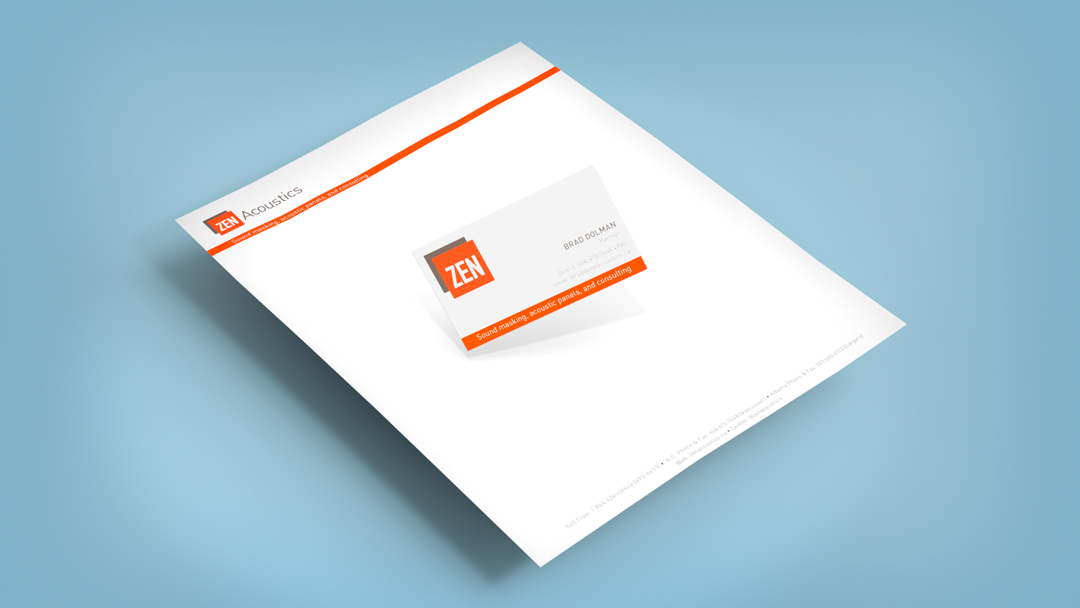 Business Cards and Letterhead for Zen Acoustics