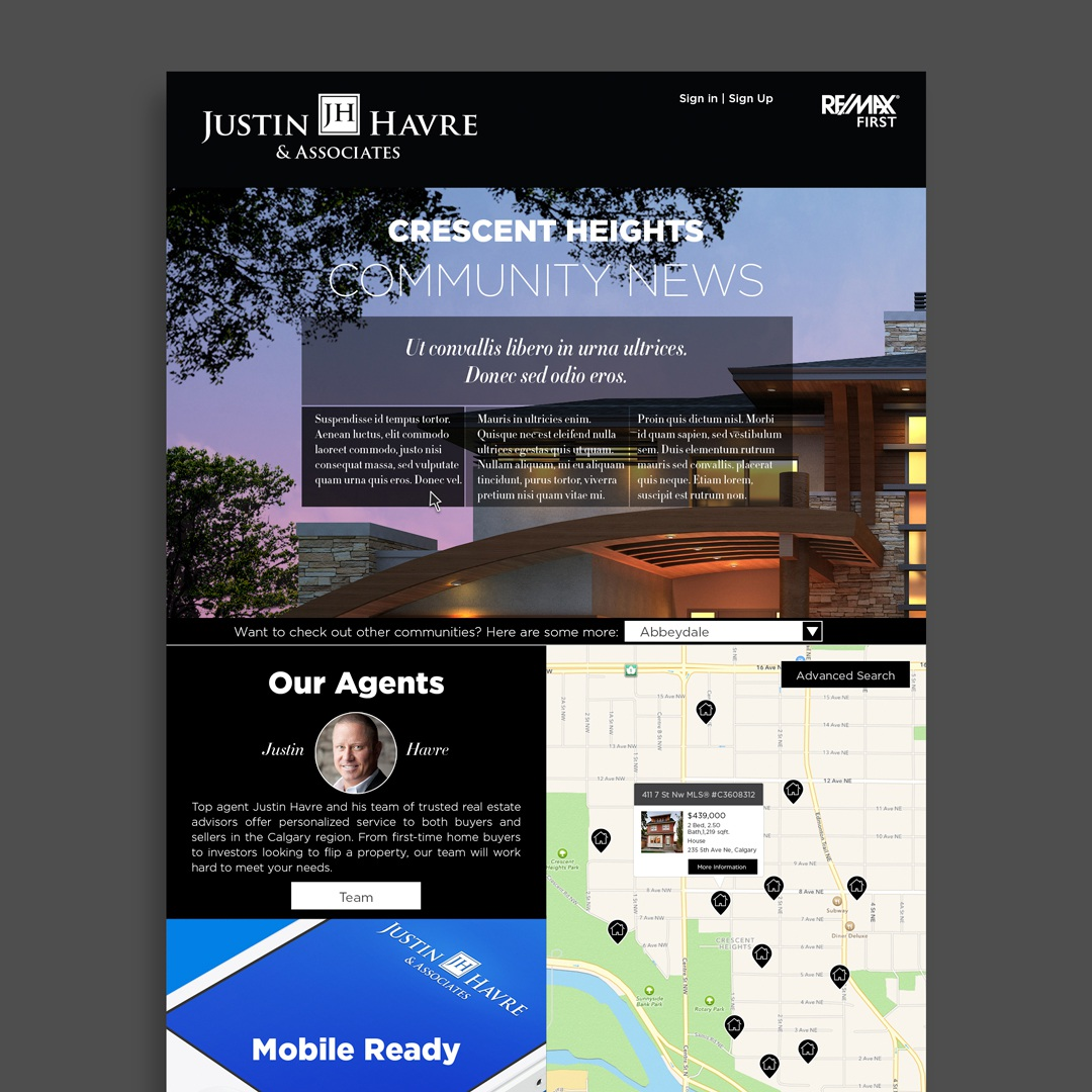 Justin Havre & Associates microsite mock-up